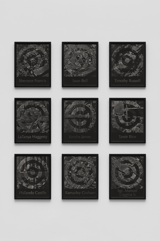 A grid of nine black and white images with target patterning.