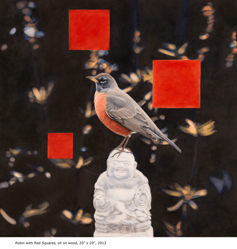Bird with red squares on statue by Diane Andrews Hall