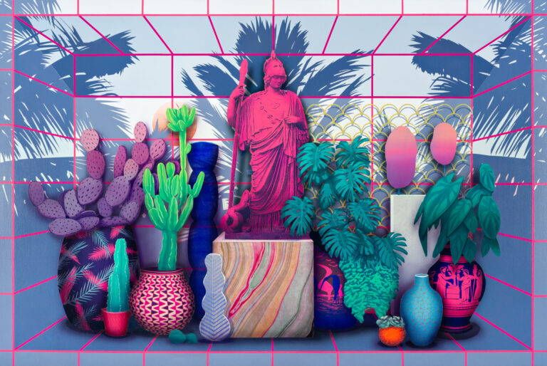 Still life of plants and statures by Robert Minervini