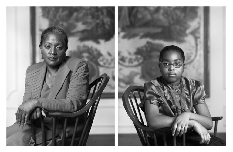 Black and white diptych portrait photographs by Dawoud Bey
