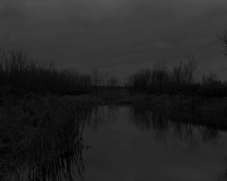 Extremely dark black and white landscape image of water, trees, and sky