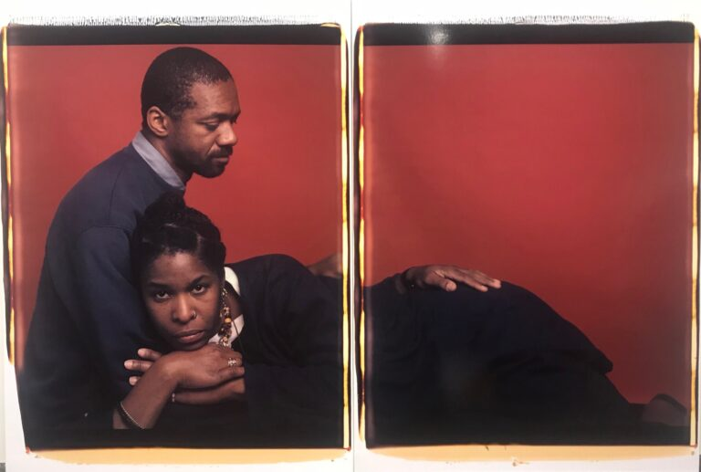 Two-panel portrait of two people by Dawoud Bey