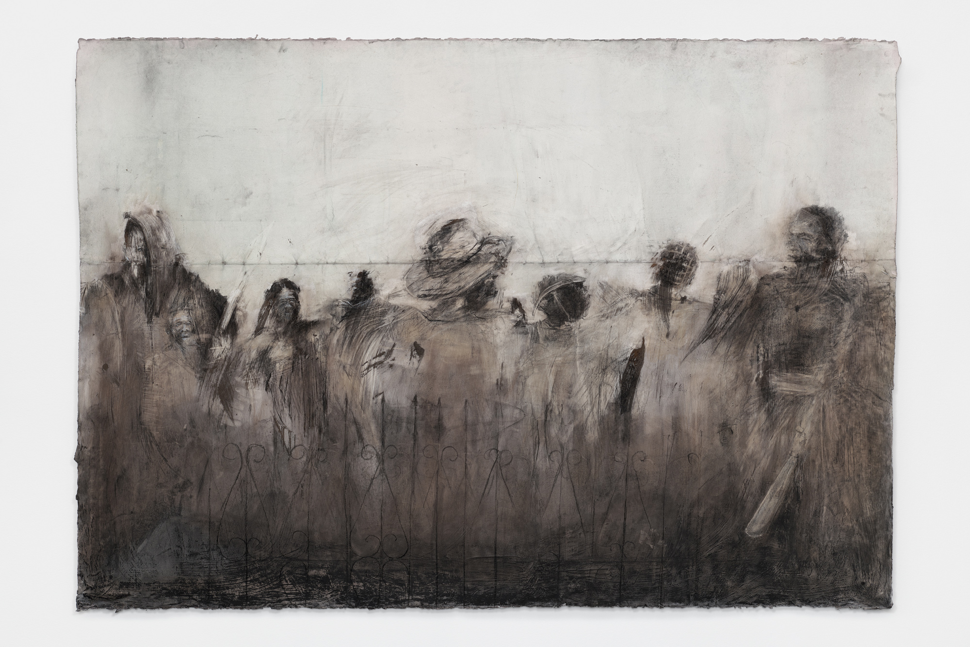 Black and white drawing of a group of ghostly human figures with indistinct features