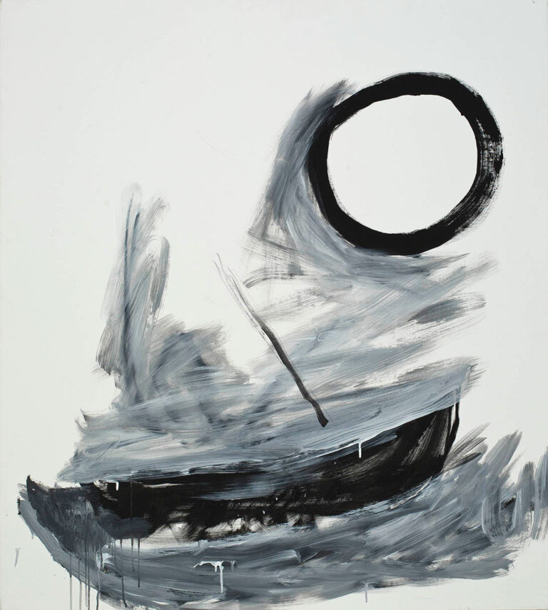 A gray scale simple boat with large circle above it