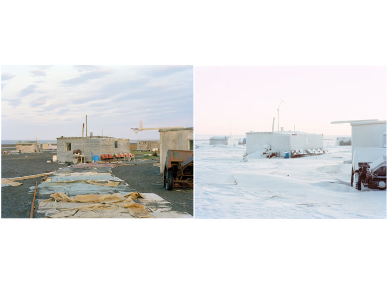 Diptych of a cabin in a flat landscape from faraway in winter and in summer