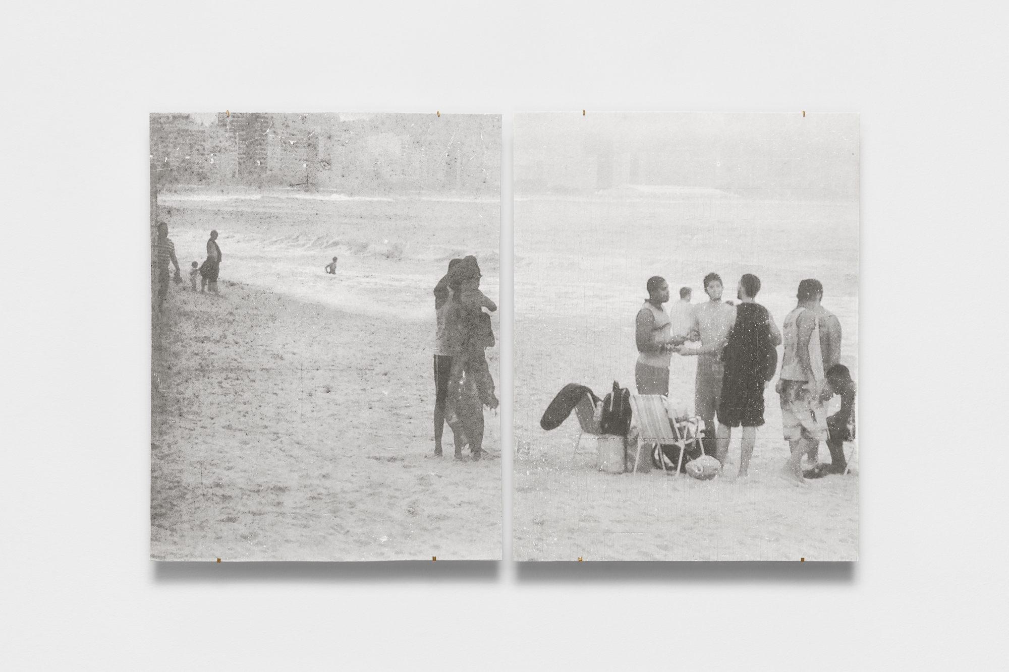 Two-panel black and white photographic print on porcelain