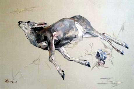 Deer painting by Hung Liu