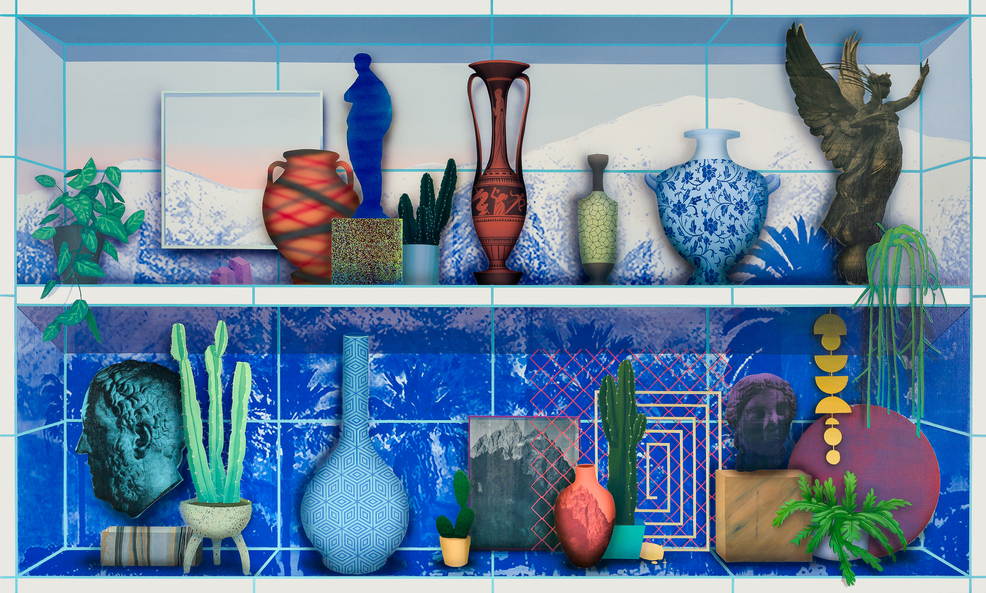 Many vases and small figurines on shelves with a blue printed mountain range in the background