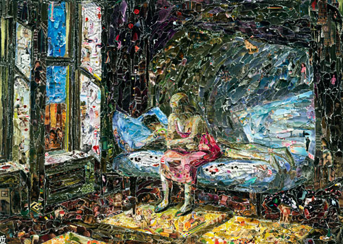 Two figures on a bed by Vik Muniz