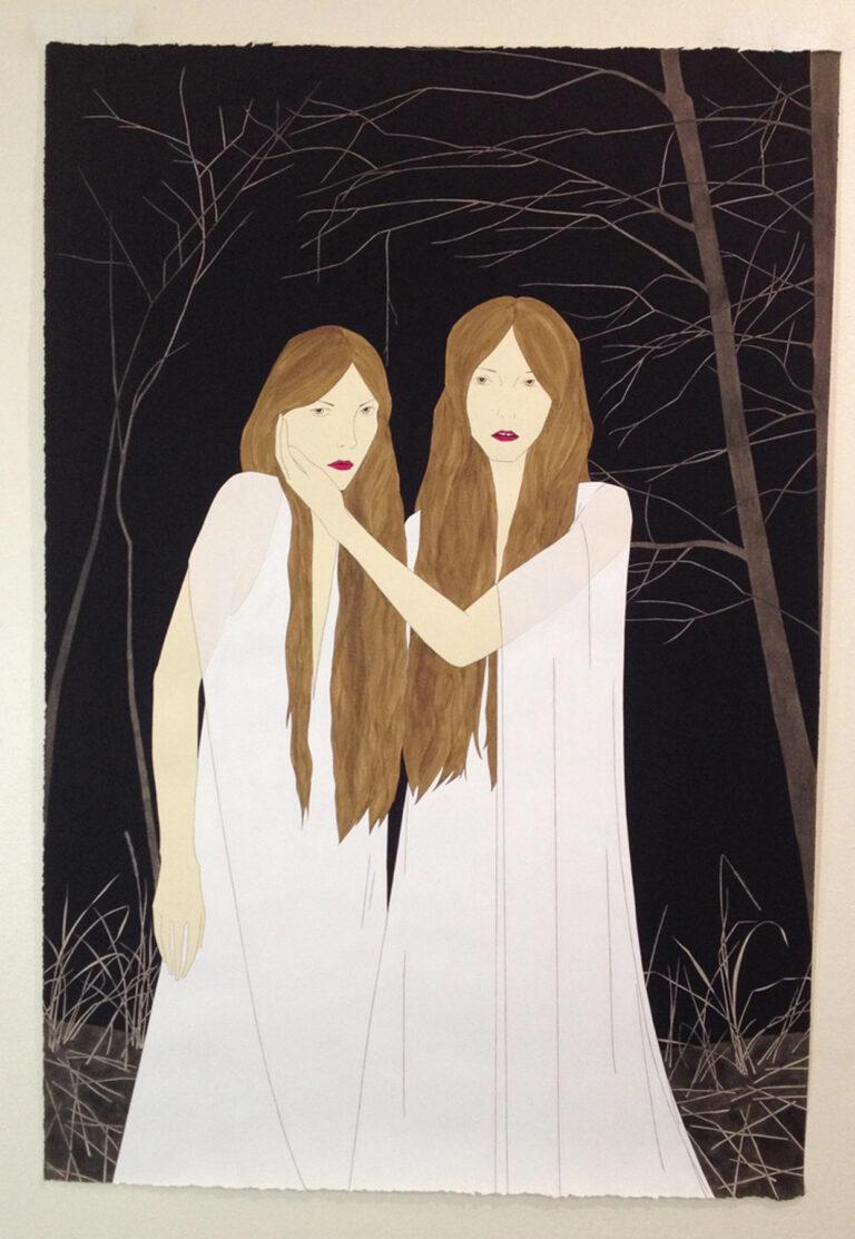 Two women with long hair by Marci Washington