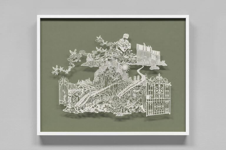 Hand cut paper scene by Bovey Lee
