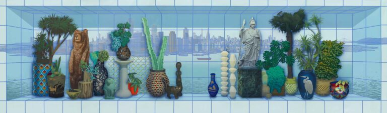Still life panorama with city view in gridded box by Robert Minervini