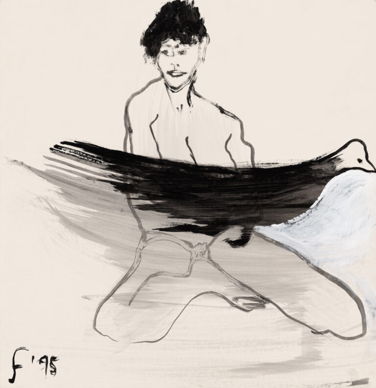 Nude with bird by Lawrence Ferlinghetti