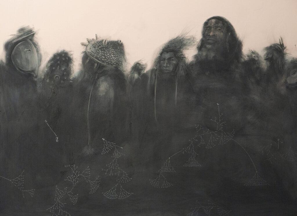 Dark shadowy figures in tribal dress