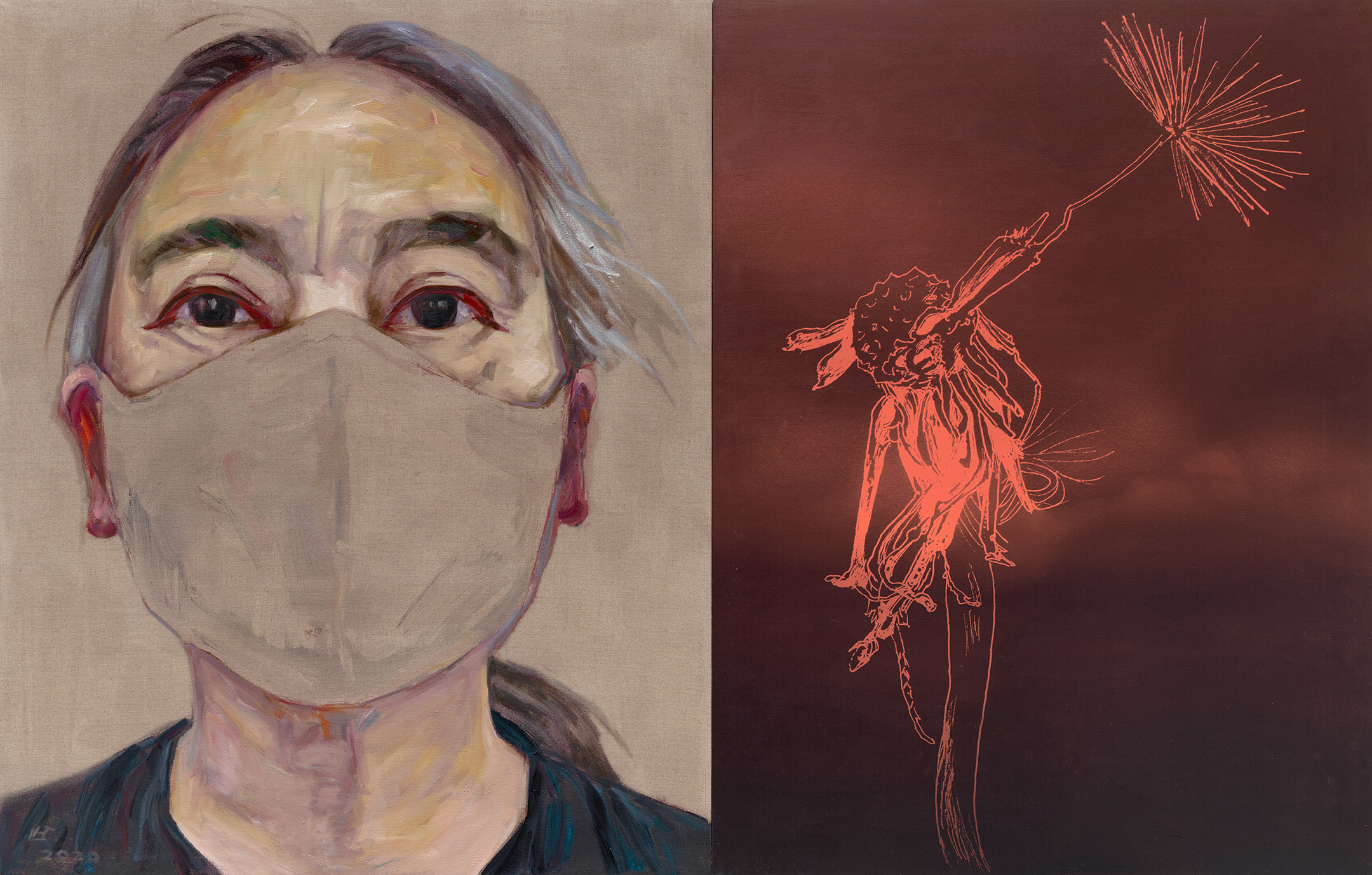 Self-portrait by artist Hung Liu with mask and dandelion